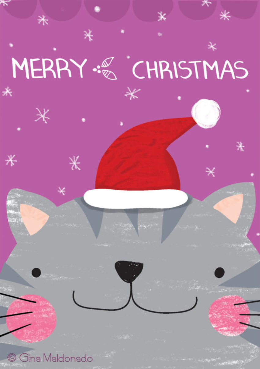 Cat Merry Christmas Card - GM