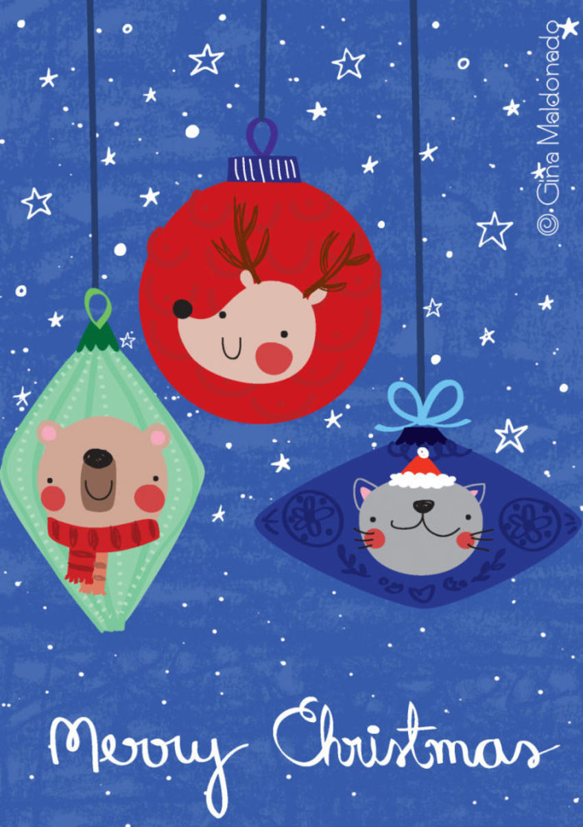 Christmas Baubles Card - GM