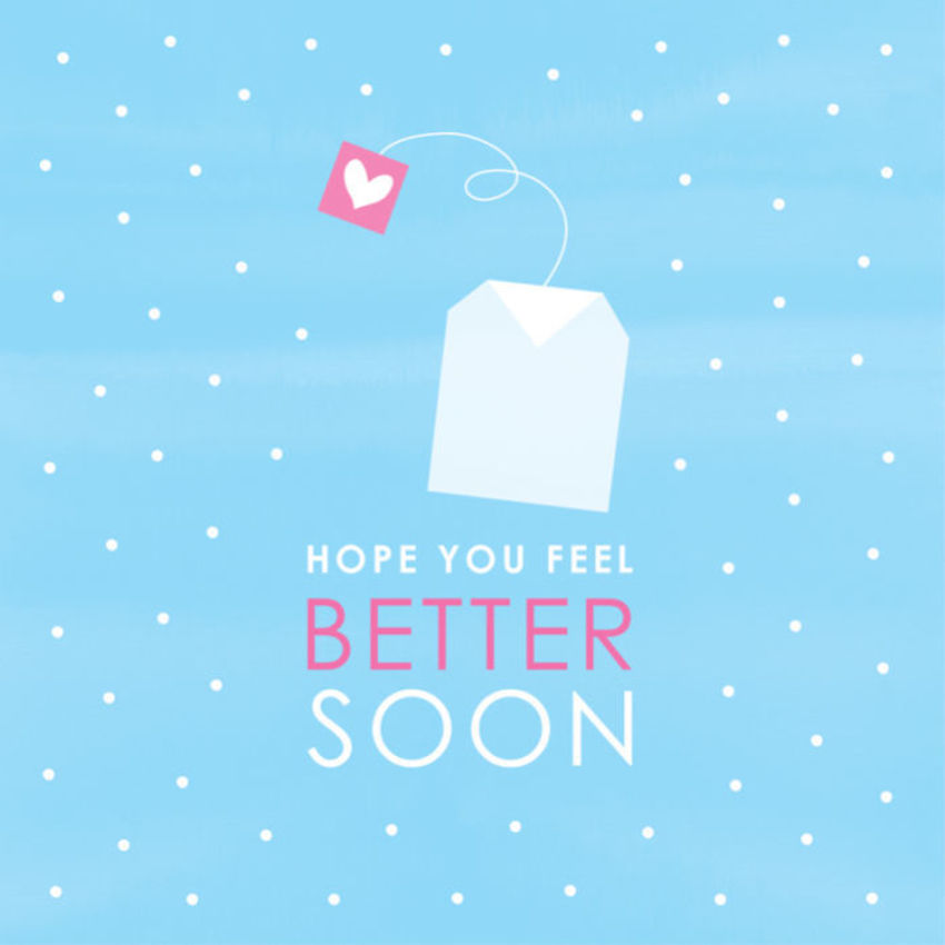 Get Well Soon Contemporary Teabag With Love Heart