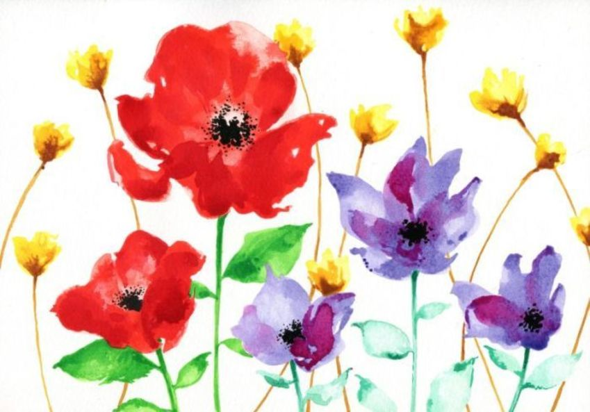 Mixed Flowers With Poppies