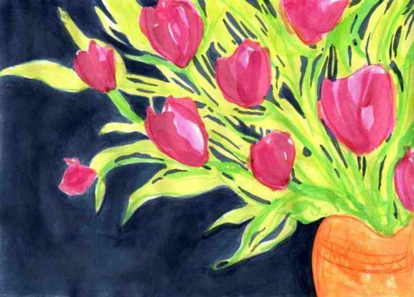 Pink Tulips In Orange Vase LQ JPEG