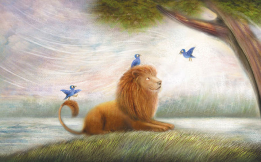 Friendly Lion And Birds