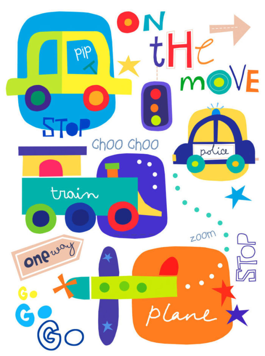 J Schof Trains Cars Planes Print