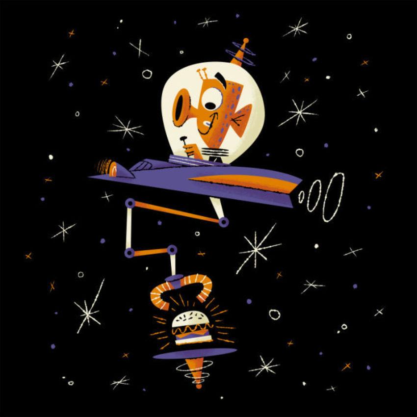 Alien In Spaceship Grabbing Burger