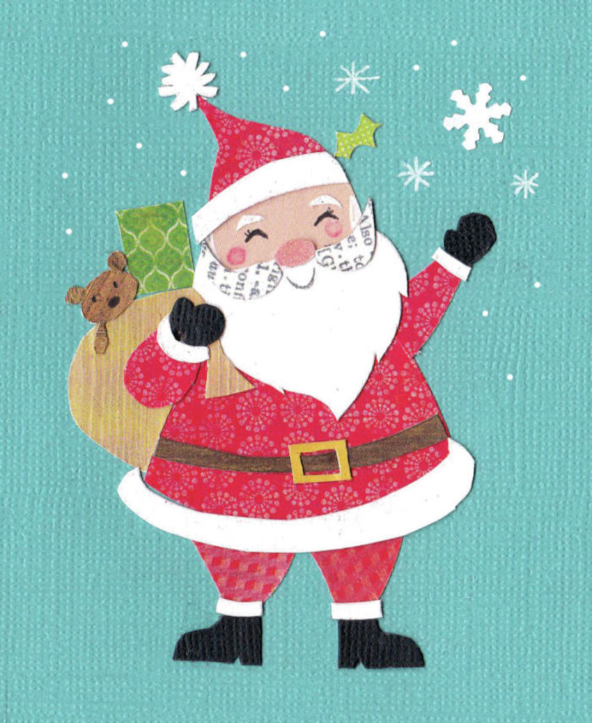 Retro Waving Santa