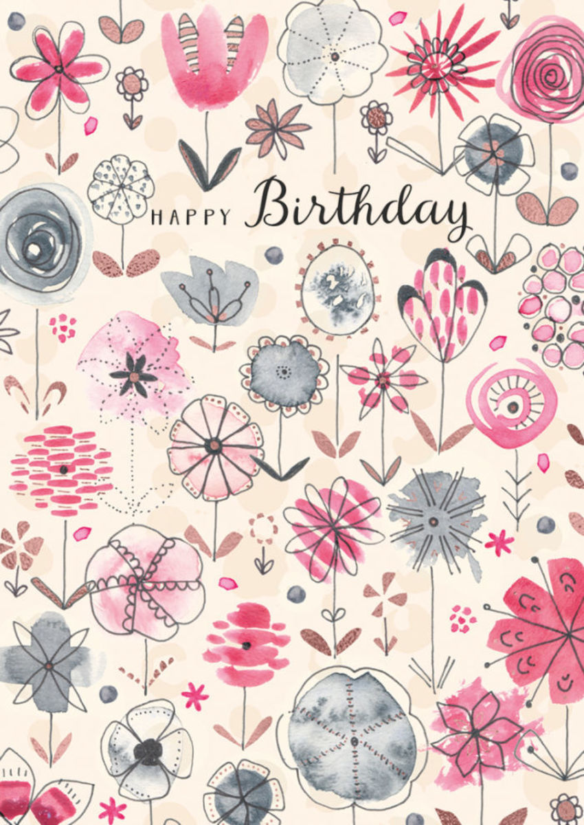 RP Watercolour Copper Foil Flowers Birthday