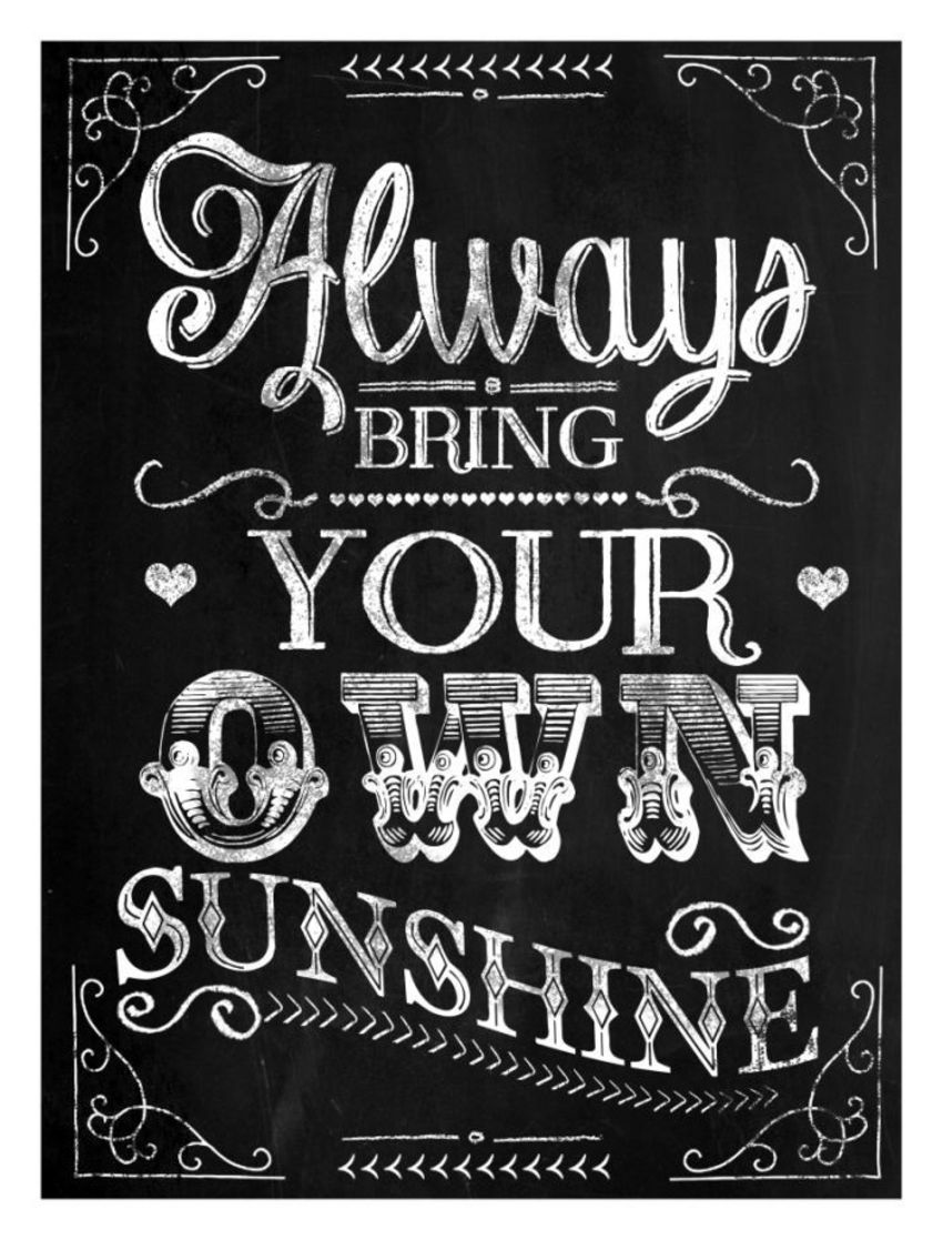 'sunshine' Chalkboard Poster