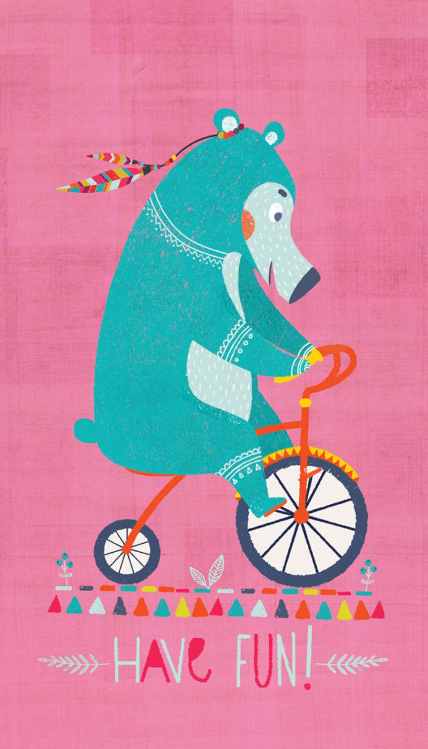Bohemian Bear On  Bicycle