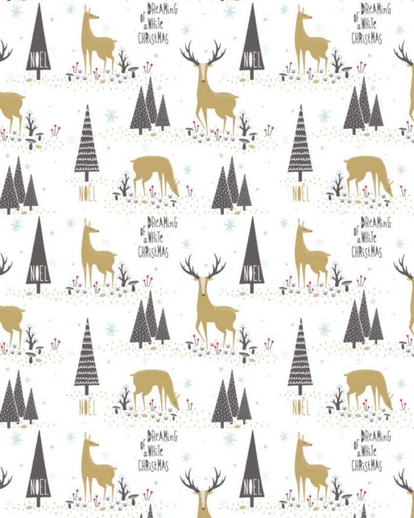 Christmas Deer And Trees
