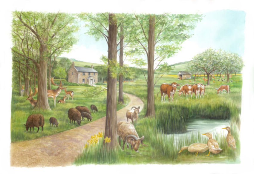 Elegant Farm Animals Artwork