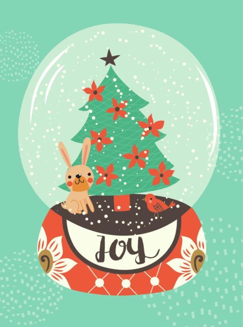 CARDS_16 Snowglobe Rabbit - Joy - GM