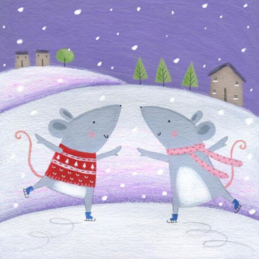 Christmas Mouse Skating Snow