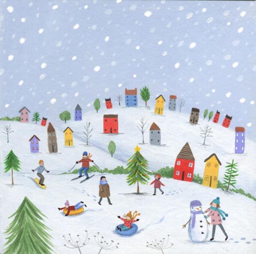 Christmas Scene Trees People