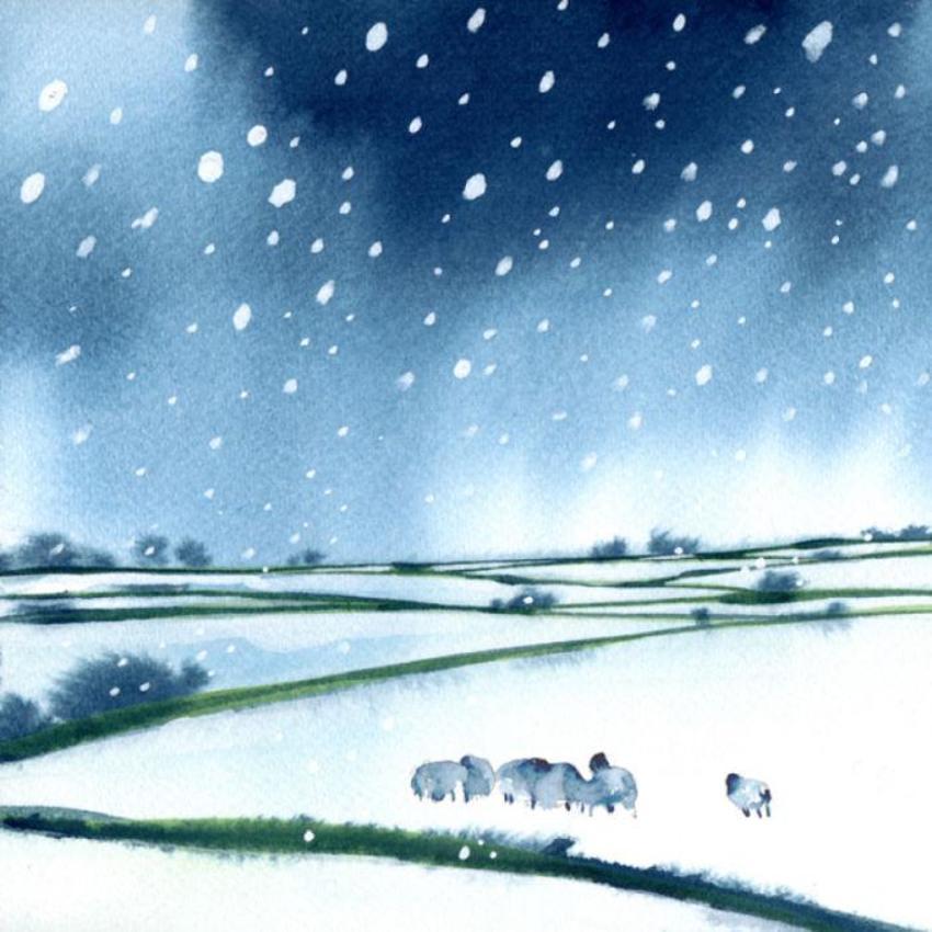 Sheep Field Snow Christmas 100dpi