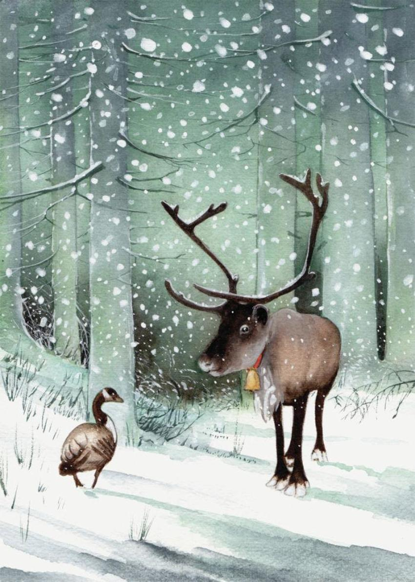 Goose And Reindeer Snow Christmas