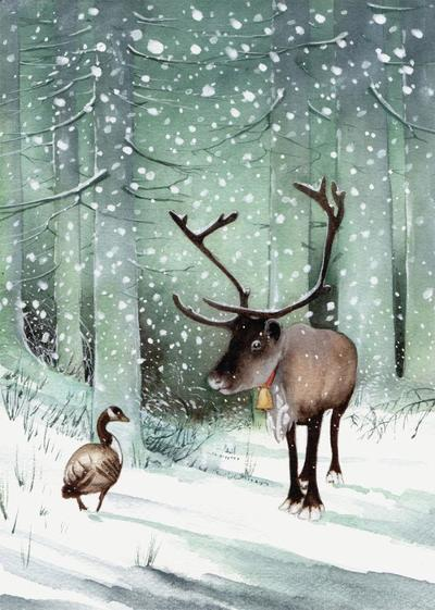 goose-and-reindeer-snow-christmas