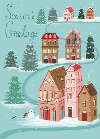 greeting-card-toy-town-winter-cabins-pine-trees