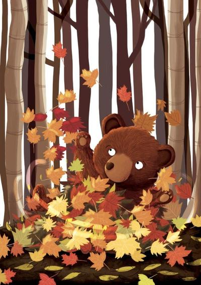 bear-playing-with-leaves
