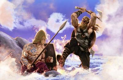 vikings-fight-longship-drakkar-axe