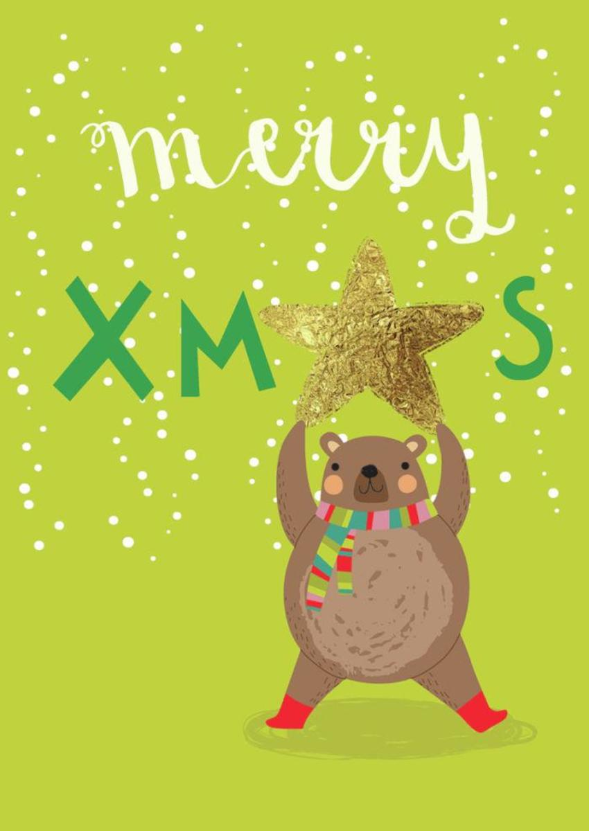 Merry Xmas  Bear - Card - GM