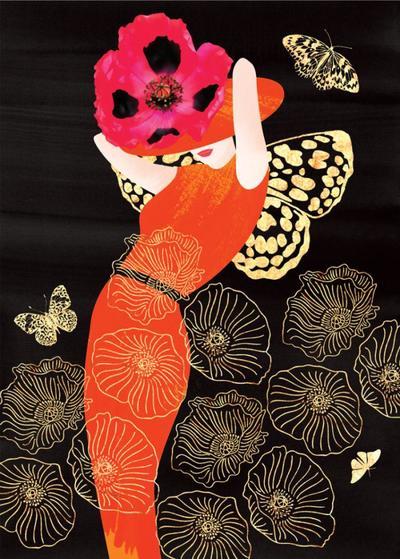 sp055-female-birthday-daughter-sister-niece-friend-fashion-wall-art-illustration-lady-in-orange-dress