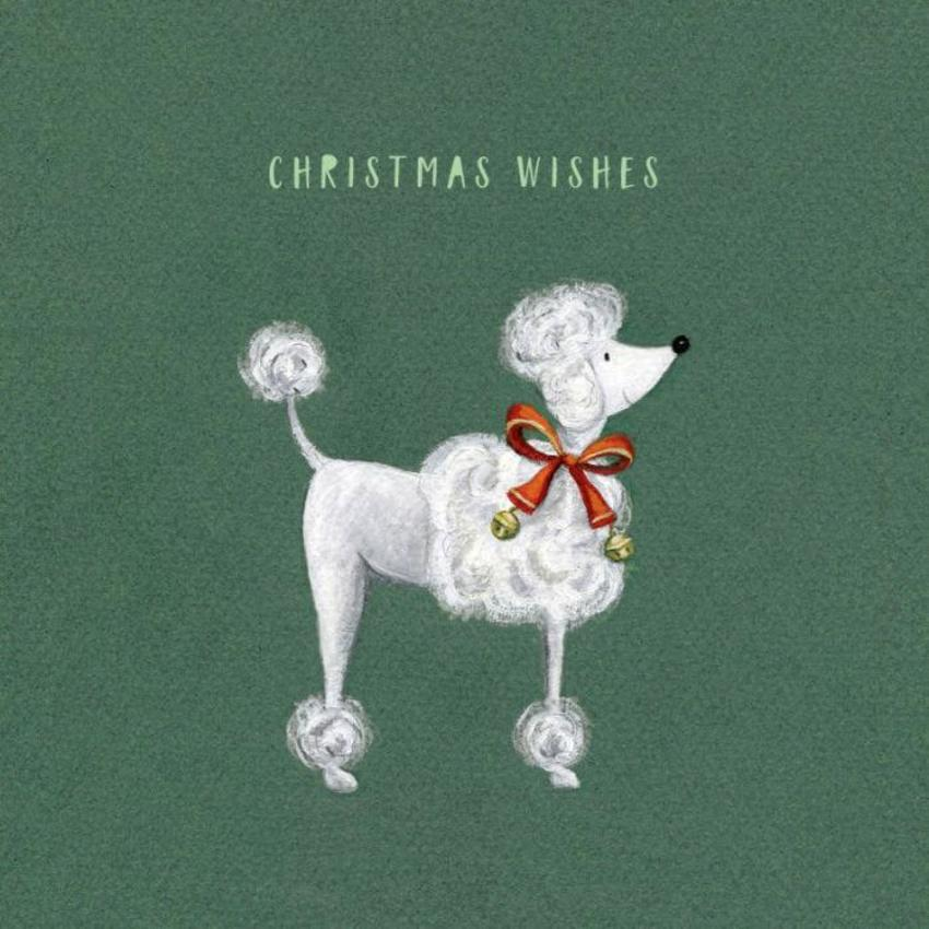 Christmas Poodle Ribbon Bell