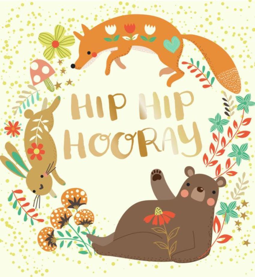 CARDS_24 Bear, Rabbit, Fox - Hip Hip Hooray - GM