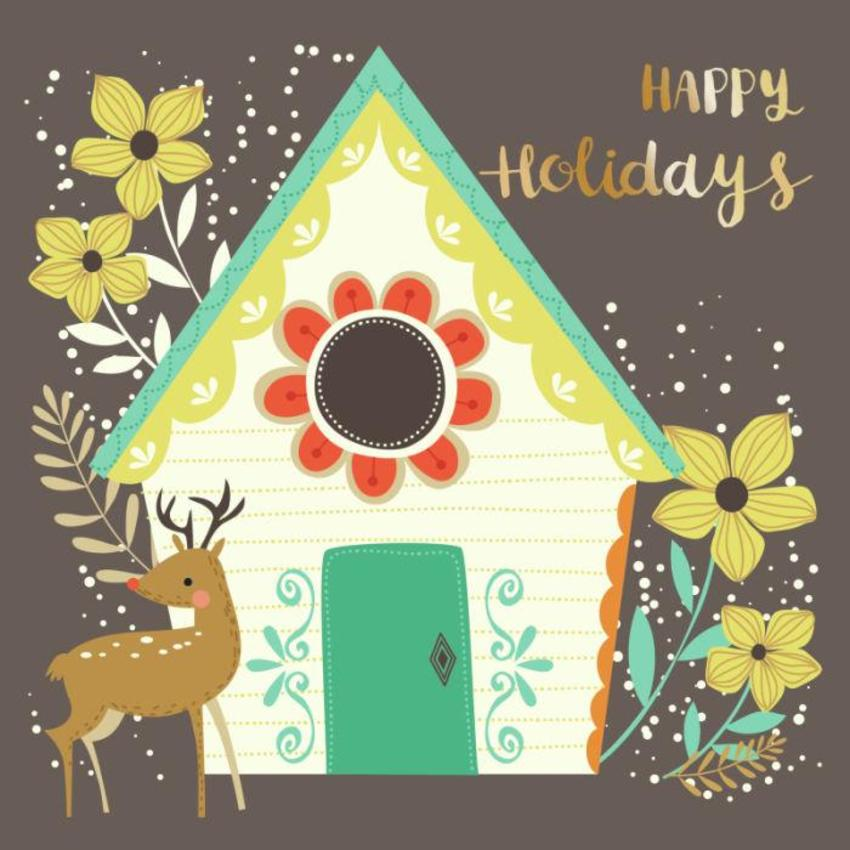 CARDS_20 House And Deer - Happy Holidays - GM