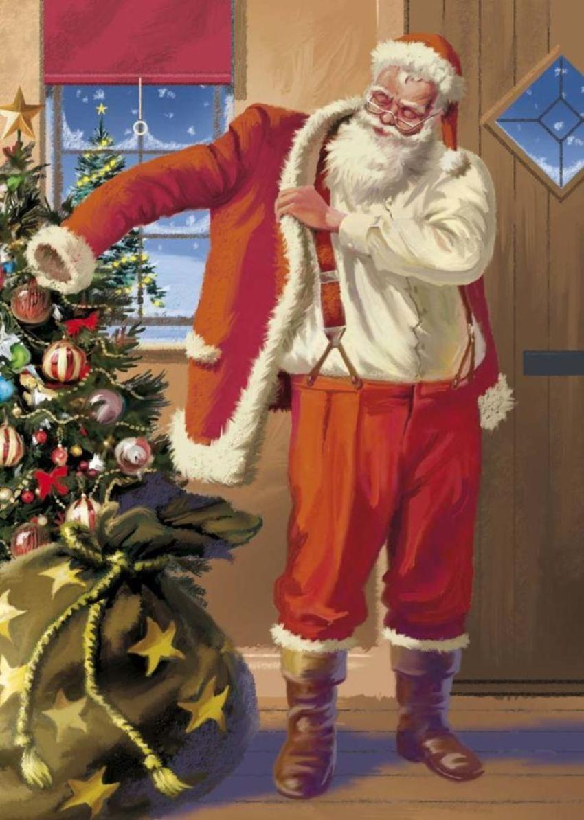 Santa Putting Coat On Copy