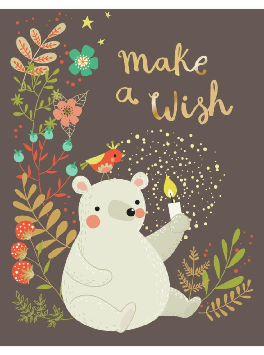 CARDS_07 Bear With Candle - Make A Wish - GM