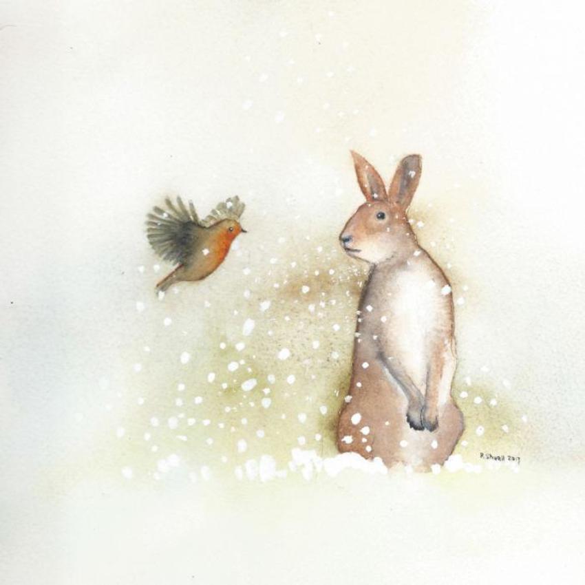 Robin Hare Snow Christmas