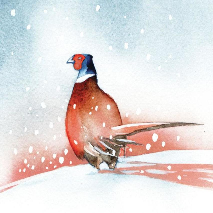 Snow Pheasant Sunset Christmas