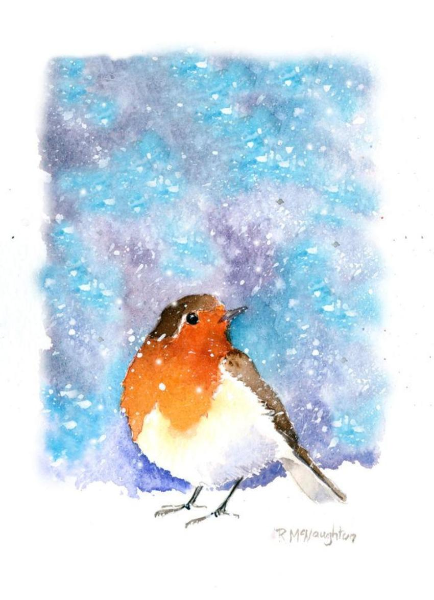 Robin Watching Snow 2