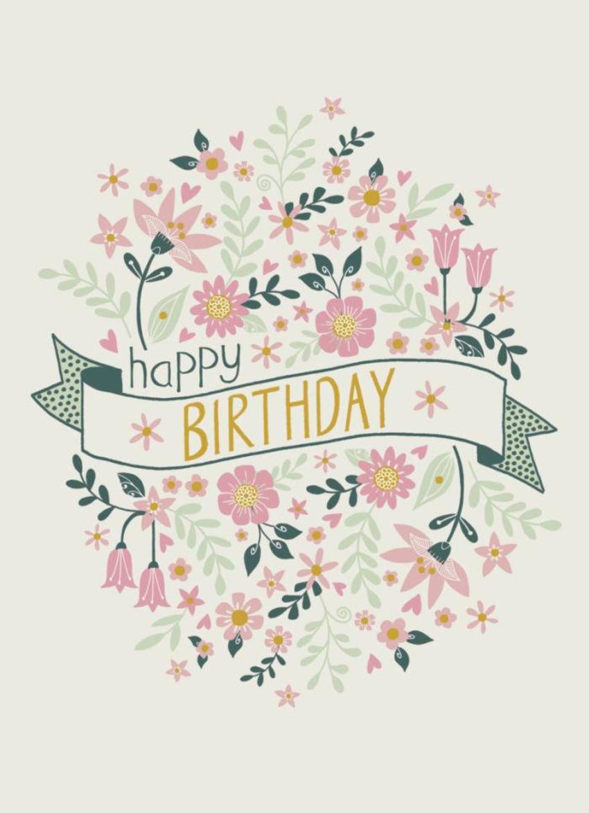 Happy Birthday Banner Flowers