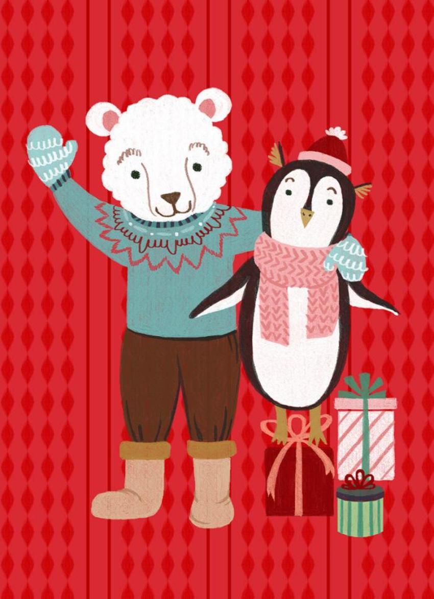 Greeting Card_Christmas_Penguin_Bear