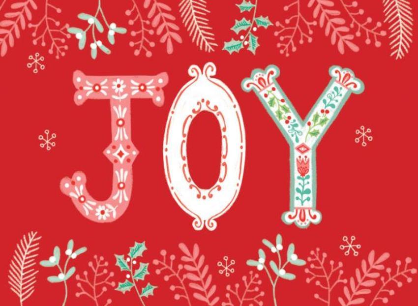 LAS_Joy Fancy Script Christmas Holly Berry Mistletoe Foliage Snowflake Folk