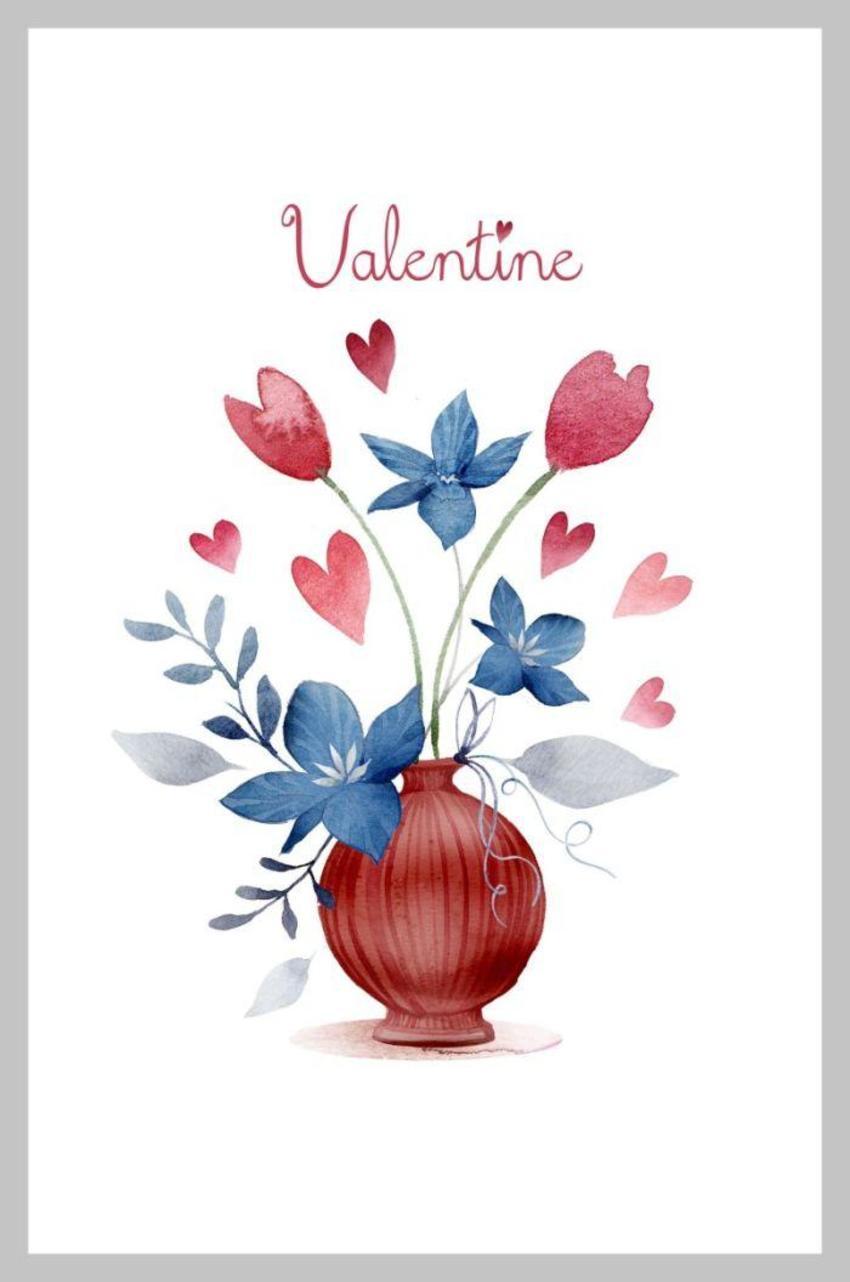 Valentines Vase Blue Red No Frame