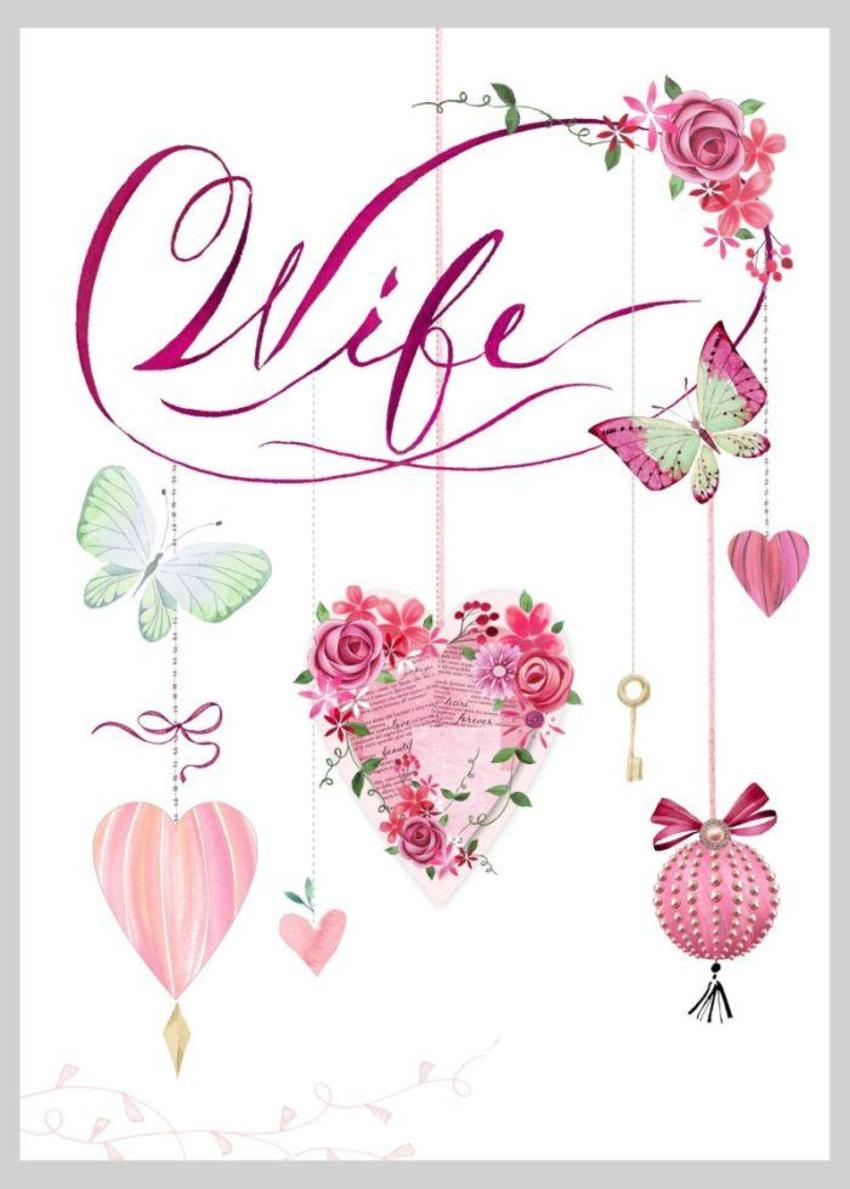 Wife Heart Roses Butterfly Valentines Anniversary Copy