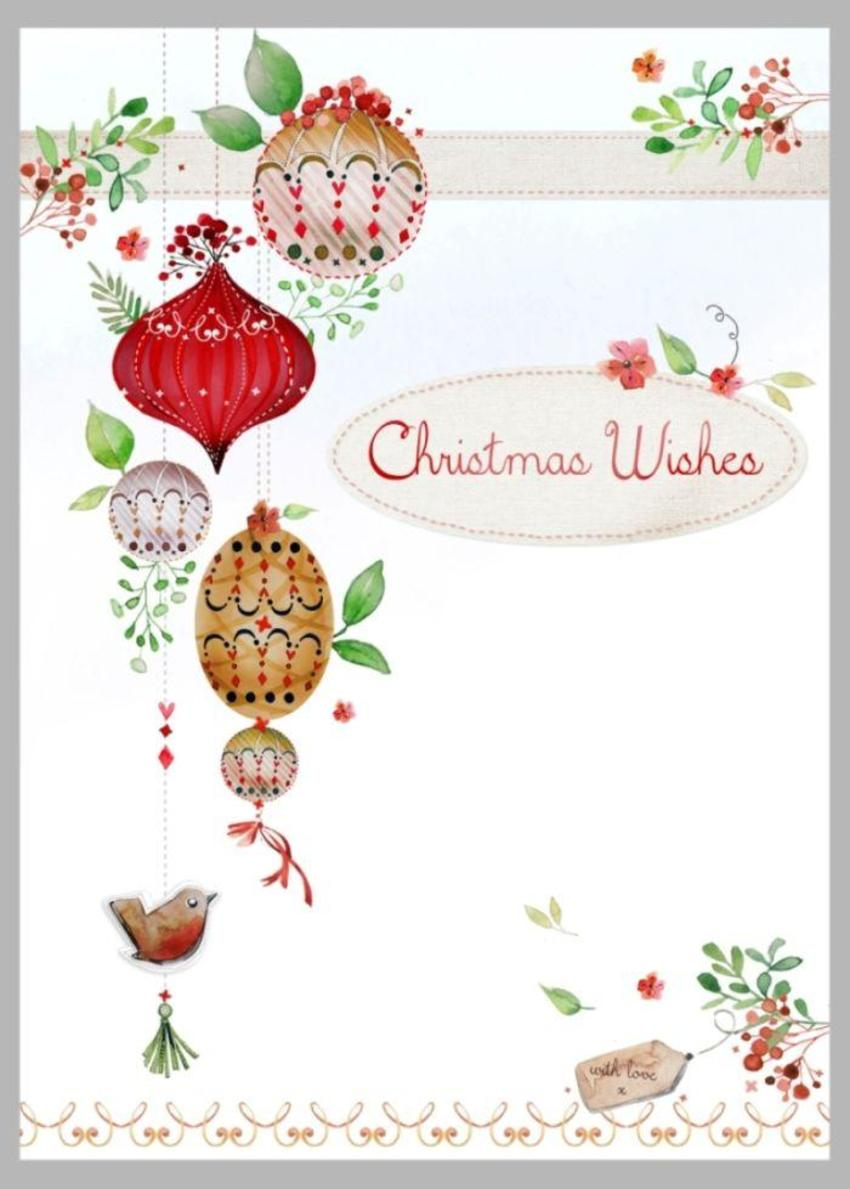 Xmas Branch And Baubles Red Brown Low Res