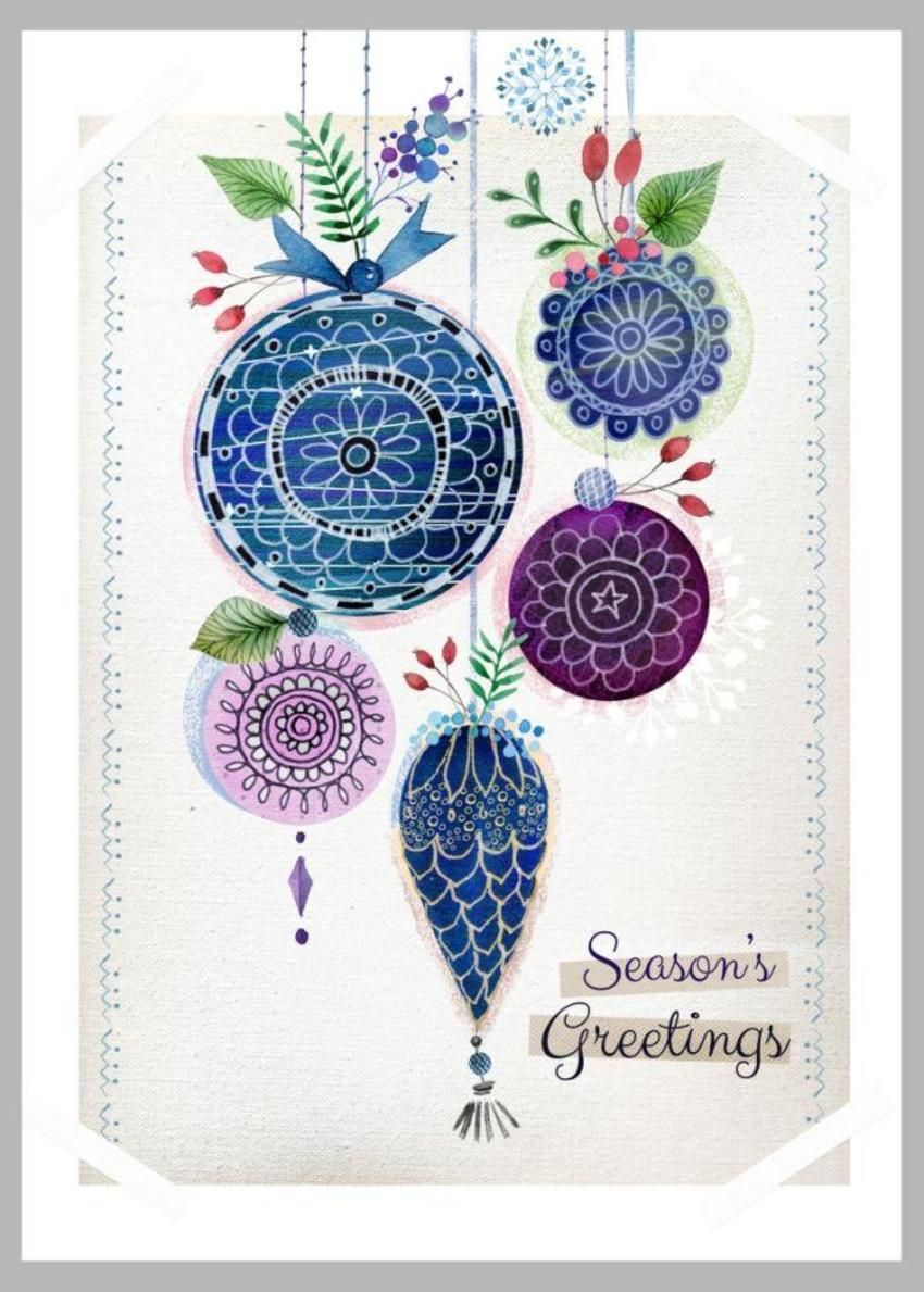 Xmas Baubles Blue Mauve Copy
