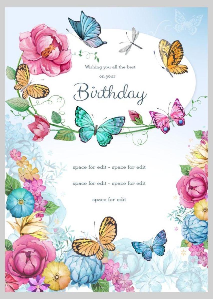 Birthday Floral Butterflies 4