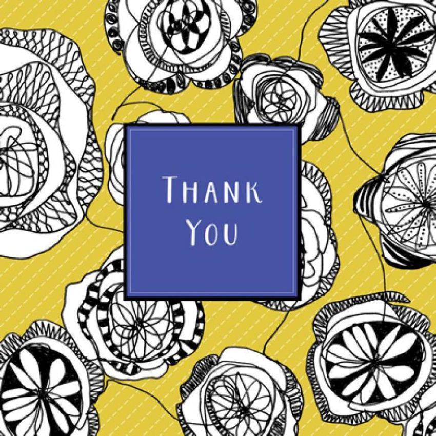 Thank You Floral Birthday Pattern Notelet