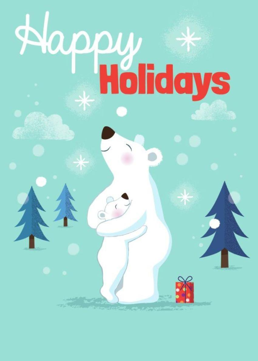 ACW Polar Bears Hugging Christmas Holiday Winter Cute