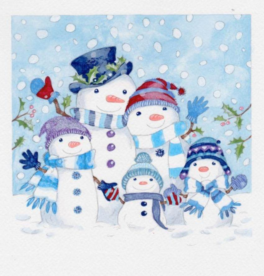 Waving Snow Family