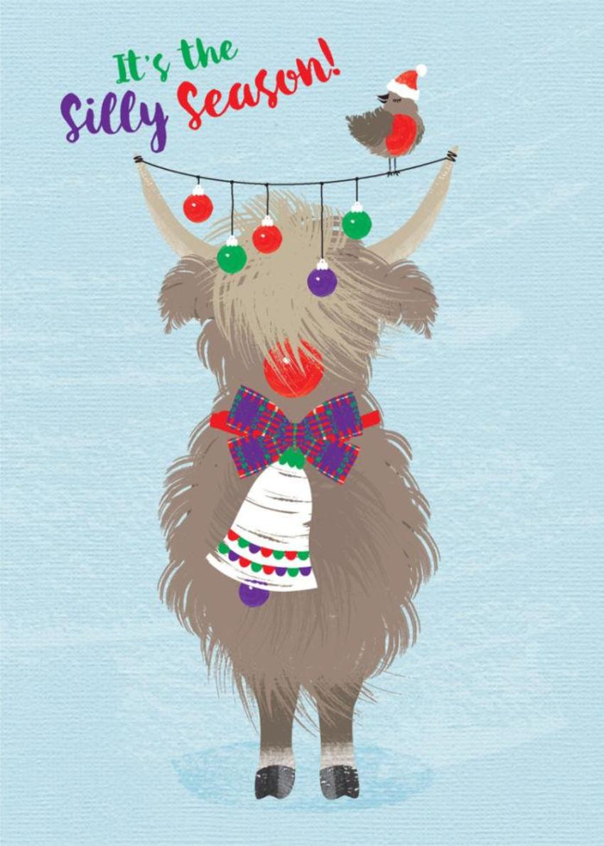 Scottish Christmas Scottish Hairy Coo Highland Cow With Baubles
