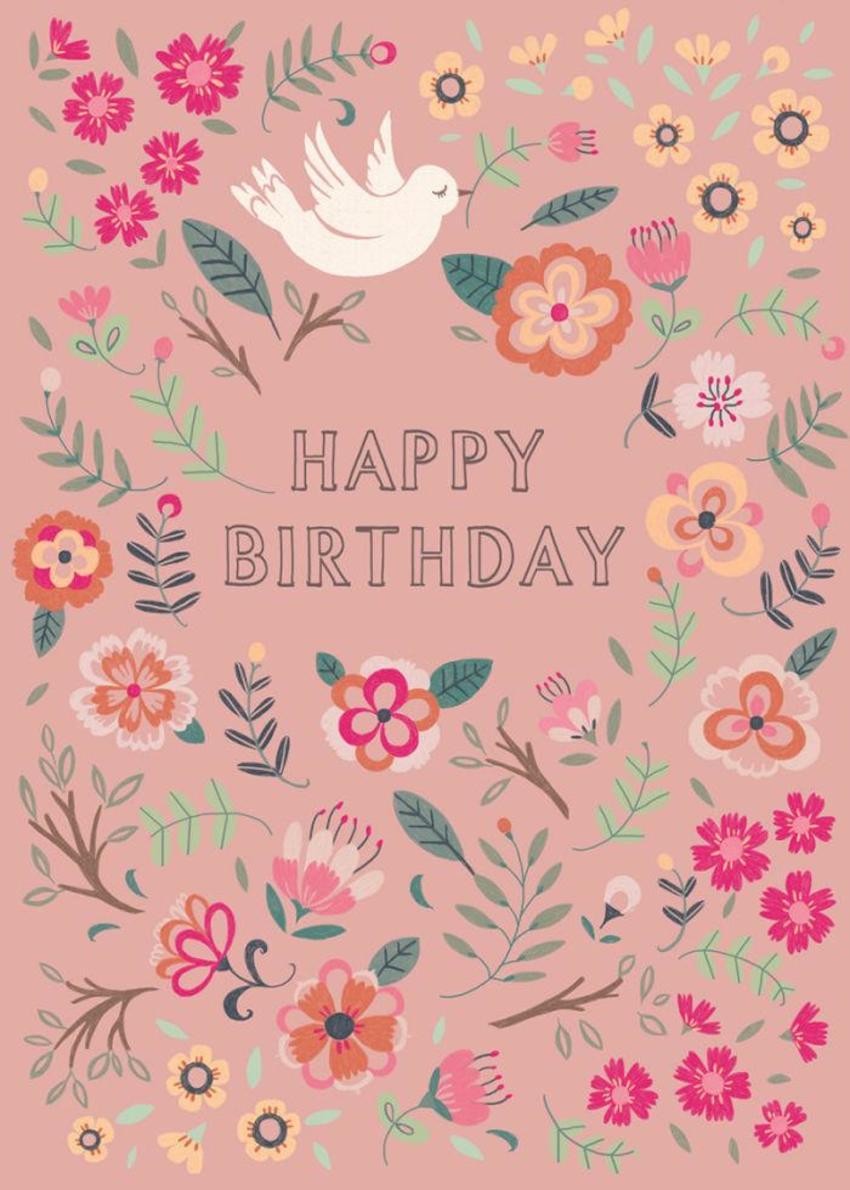 Bird And Flowers_birthday Card