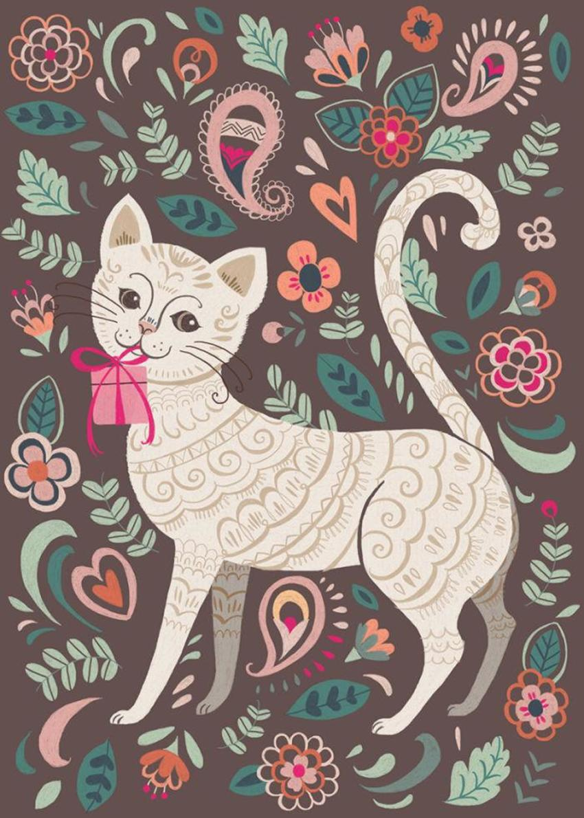 Cat And Flowers_greeting Card