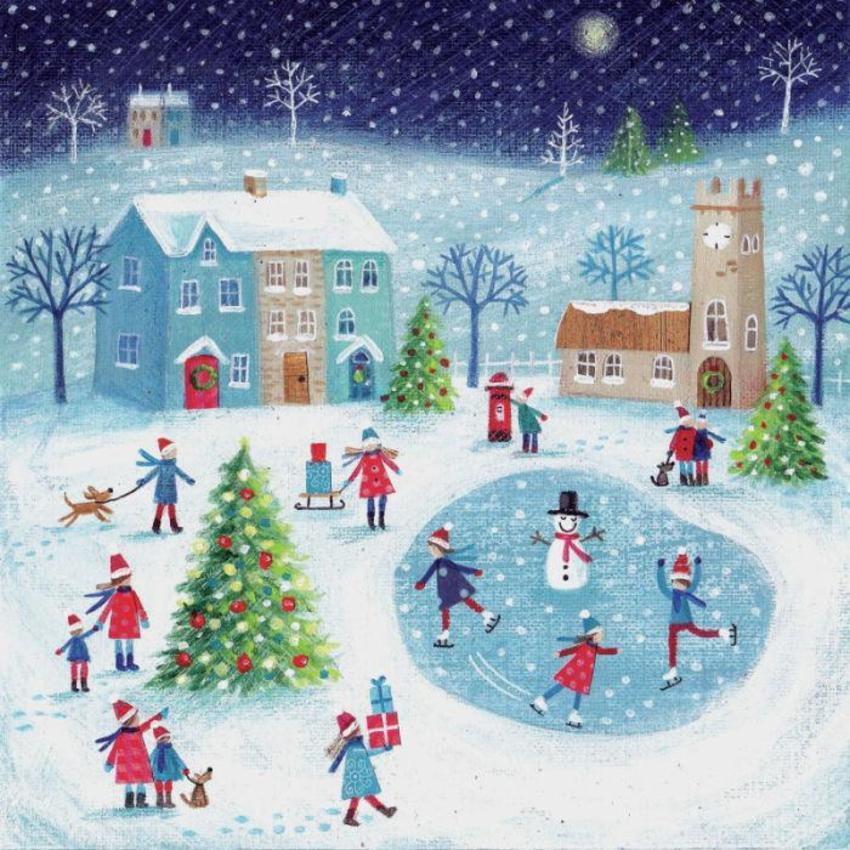 Winter Scene Skaters