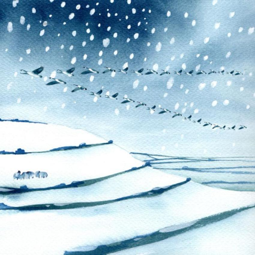 Geese Sheep Snow Hills Christmas 100dpi