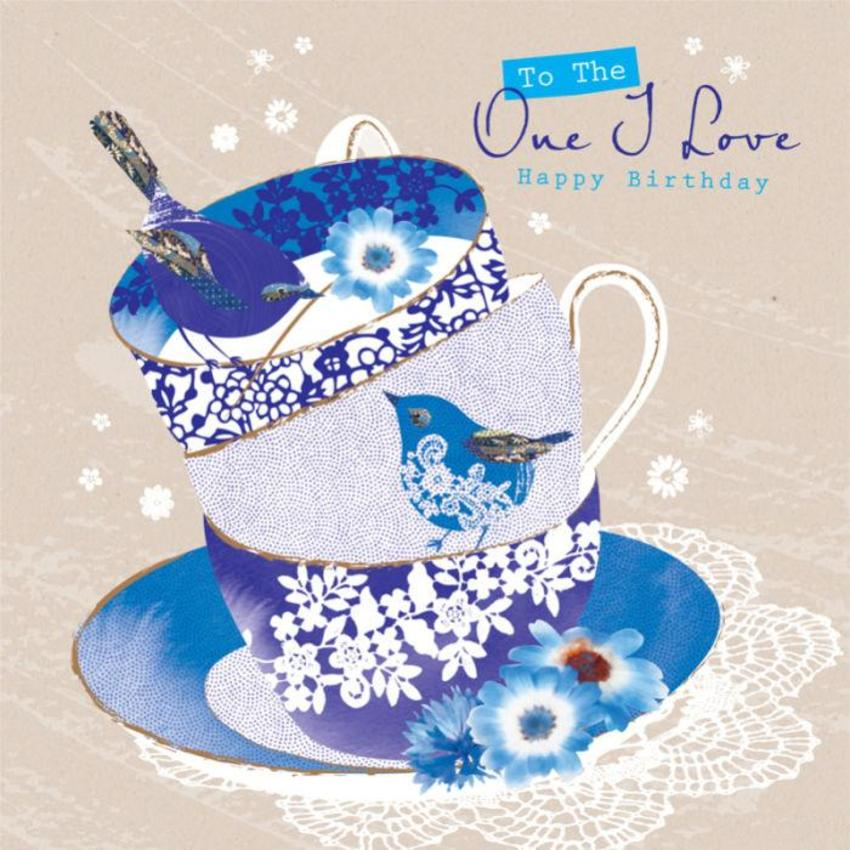 Female Birthday Love Anniversary Valentines Day Wife Birthday Thank You Birds On Blue Teacups